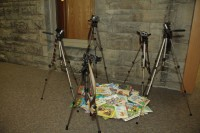 Stations-of-the-Cross 4: Cameras on tripods, 35 mm film, children's books